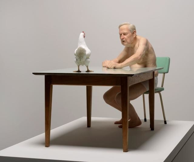 chicken / man by Ron Mueck