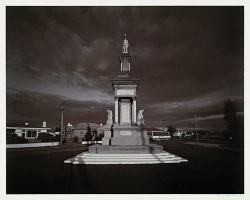 Laurence Aberhart War memorial, Balclutha (from the Portfolio View) 1980. photograph. Collection of Christchurch Art Gallery, purchased 1992.