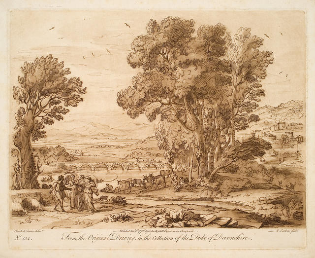 Landscape With Figures from Original Drawing in Collection of Duke of Devonshire