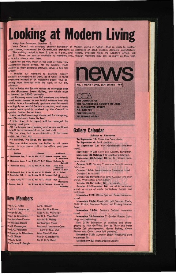 Canterbury Society of Arts News, number 21, September 1968