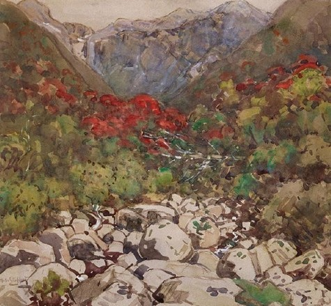 Margaret Stoddart An Otira Stream (also known as Mountain Rata) c.1927. Watercolour. Collection of Christchurch Art Gallery Te Puna o Waiwhetū, purchased 1997