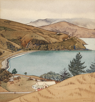 Rita Angus Wainui, Akaroa 1943. Watercolour. Collection of Christchurch Art Gallery Te Puna o Waiwhetū, N. Barrett Bequest Collection, purchased 2010
