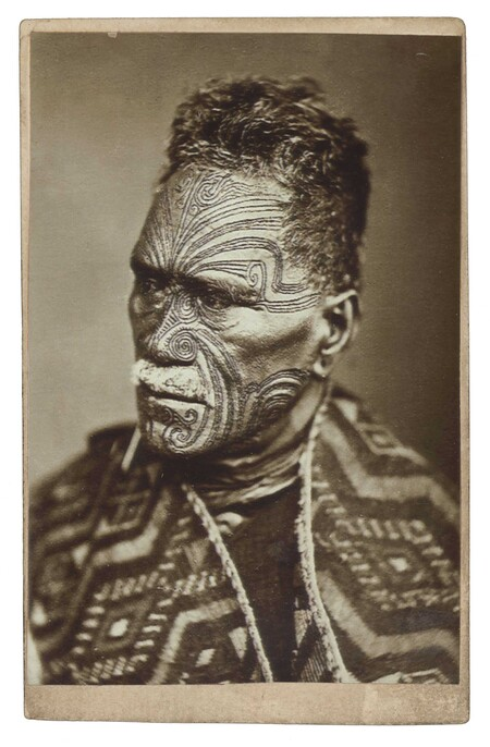 George Albert Steel (photographer), Elizabeth Pulman (publisher) King Tāwhiao Tukaroto Matutaera Pōtatau Te Wherowhero (Ngāti Mahuta, Tainui) 1882. Albumen carte de visite. Collection of Christchurch Art Gallery Te Puna o Waiwhetū, purchased 2019