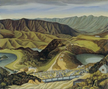 Doris Lusk Landscape, Overlooking Kaitawa, Waikaremoana 1948. Oil on board. Collection of Christchurch Art Gallery Te Puna o Waiwhetū, purchased 1955