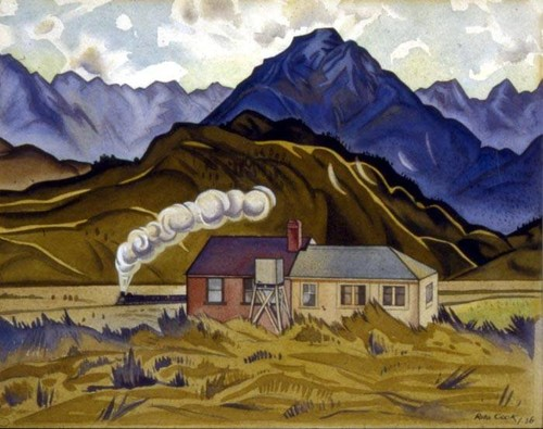 Rita Angus Mountain Biological Station, Cass (1936) watercolour. Collection University of Canterbury