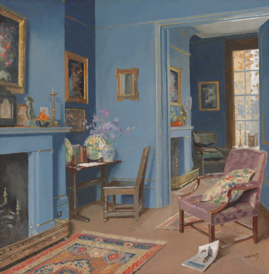 James Durden A Blue Room in Kensington c. 1930. Oil on canvas. Collection of Christchurch Art Gallery Te Puna o Waiwhetū, presented by a group of Christchurch citizens, 1932