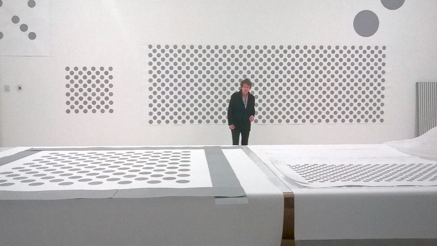 Bridget Riley in her studio, 2017. Photo: Paul Moorhouse