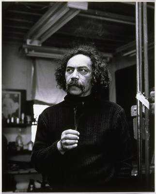 Marti Friedlander Ralph Hotere - The Artist's Studio, Port Chalmers 1979. Photograph. Collection of Christchurch Art Gallery Te Puna o Waiwhetū, purchased 1998. Reproduced courtesy of Marti Friedlander