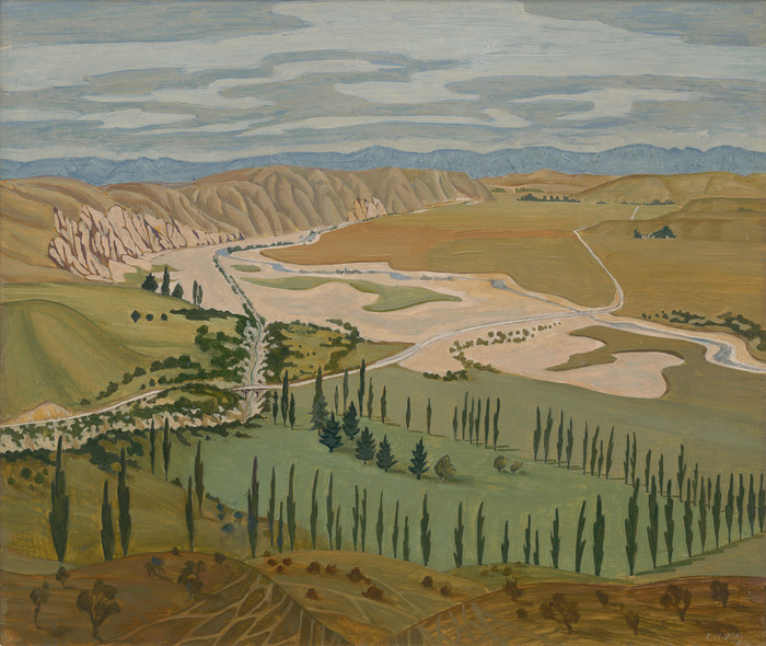 Doris Lusk Towards Omakau c.1942. Oil on board. Collection of Christchurch Art Gallery Te Puna o Waiwhetū, William A. Sutton Bequest, 2000