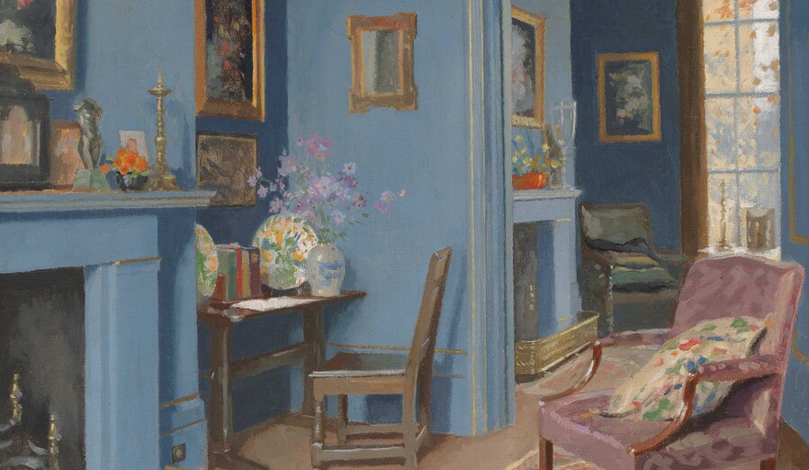 James Durden A Blue Room in Kensington (detail) c. 1930. Oil on canvas. Collection of Christchurch Art Gallery Te Puna o Waiwhetū, presented by a group of Christchurch citizens, 1932