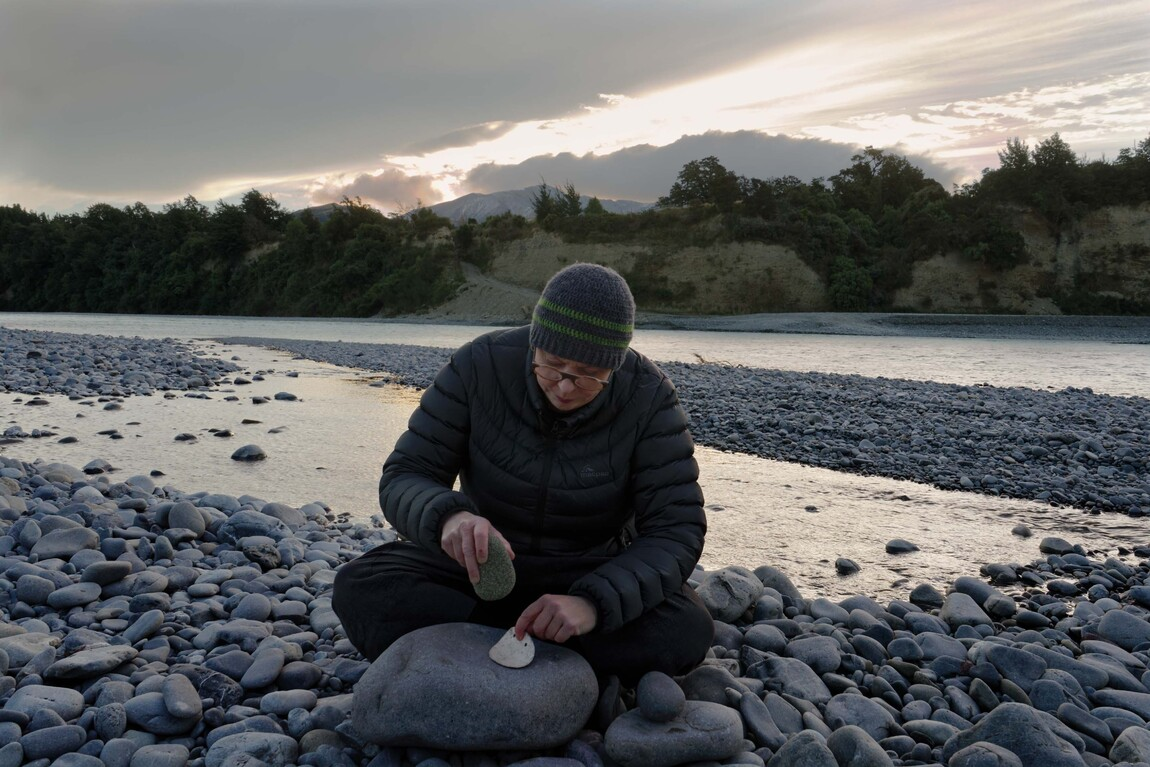 Areta Wilkinson working on Whakapapa I, 2018, on the Waimakariri River. Photo: Studio La Gonda