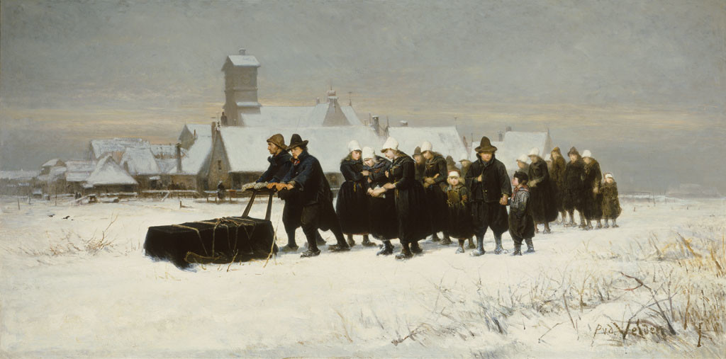 Petrus van der Velden The Dutch funeral 1875. Oil on canvas. Collection of Christchurch Art Gallery Te Puna o Waiwhetū, gifted by Henry Charles Drury van Asch 1932