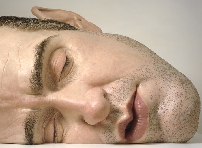 Ron Mueck Mask II (detail) 2002. Polyester resin, fibreglass, steel, plywood, synthetic hair, second edition, artist's proof. Private collection. © Ron Mueck courtesy Anthony d'Offay, London