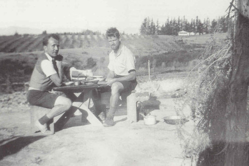 Toss Woollaston and Rodney Kennedy enjoying Weetbix for breakfast at Mapua. Late 1930s. Illustrated in Gerald Barnett, Toss Woollaston: An Illustrated Biography, Wellington, 1991, p.22