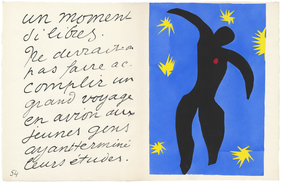 Henri Matisse Icarus, from the illustrated book Jazz 1947. Artist's illustrated book of twenty colour stencils on Velin d'Arches. Collection of the Art Gallery of New South Wales, Margaret Hannah Olley Art Trust 2014. Photo: AGNSW. © Succession H. Matisse/Licensed by Viscopy, 2017