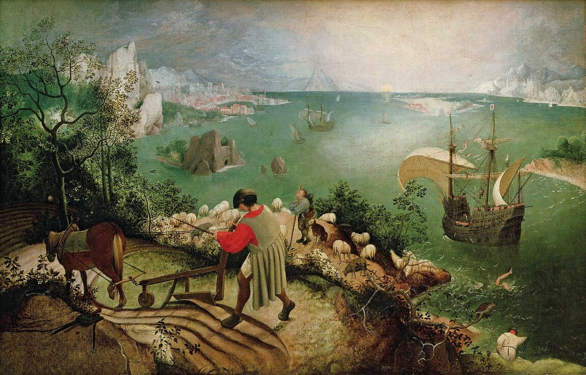 Pieter Bruegel the Elder Landscape with the Fall of Icarus c. 1558. Oil on canvas. Musees Royaux des Beaux-Arts de Belgique, Brussels, Belgium