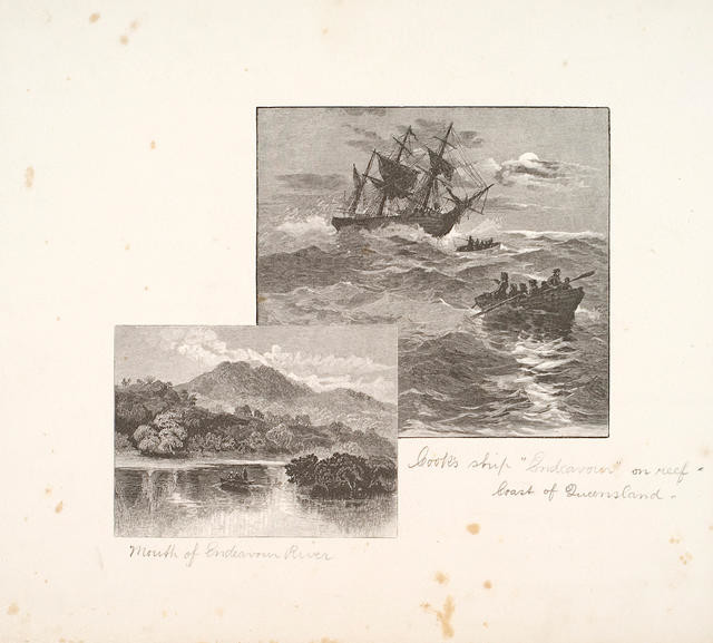 Cook's Ship 'Endeavour' on Reef, Coast of Queensland (I) and Mouth of Endeavour River (II)