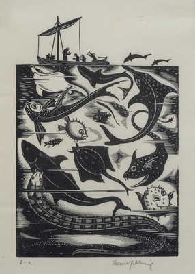 Robert Gibbings St Brendan and the Sea Monsters 1934. Woodcut. Collection of Christchurch Art Gallery Te Puna o Waiwhetū, Mrs Rosalie Archer. Reproduced courtesy of Reading University Library