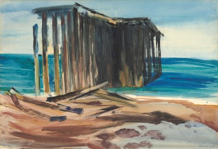 Doris Lusk Acropolis, Onekaka (The Wharf) 1966. Watercolour. Collection of Christchurch Art Gallery Te Puna o Waiwhetū, Lawrence Baigent / Robert Erwin bequest, 2003