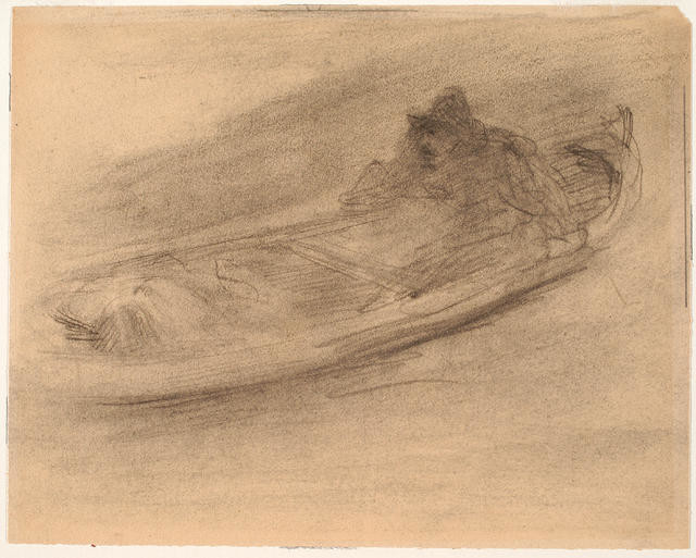 Figure In Boat On Dutch Canal