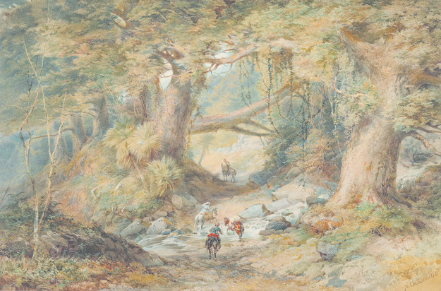 Nicholas Chevalier Crossing the Teremakau River 1876. Watercolour. Collection of Te Papa Tongarewa, gift of Caroline Chevalier, the artist's widow, England, 1919
