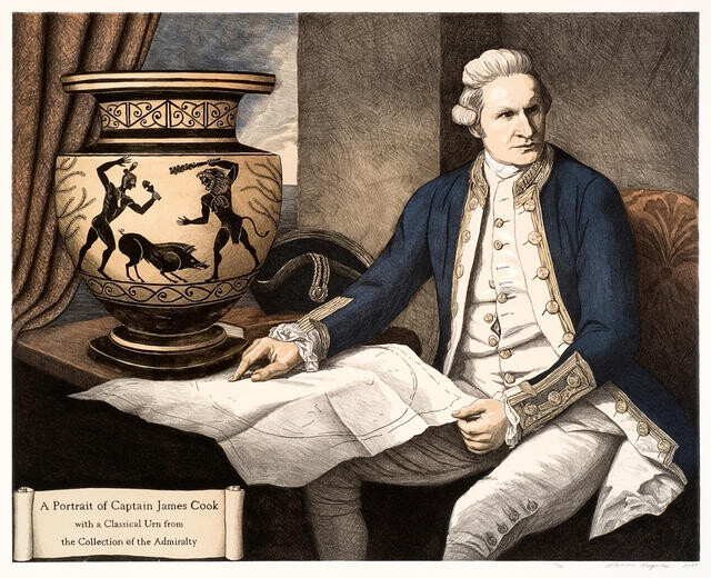 A portrait of Captain James Cook with a Classical Urn from the Collection of the Admiralty