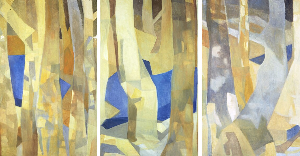 Louise Henderson Suddenly a lake appeared among the trees 1991. Oil on canvas on board. Collection of Christchurch Art Gallery Te Puna o Waiwhetū, Dame Louise Henderson Collection, presented by the McKegg Family, 1999