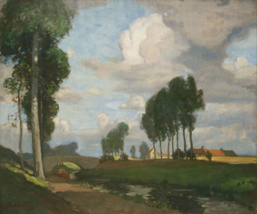 Archibald Nicoll A Flemish Waterway. Oil on canvas. Collection of Christchurch Art Gallery Te Puna o Waiwhetū, presented by the Canterbury Society of Arts, 1932