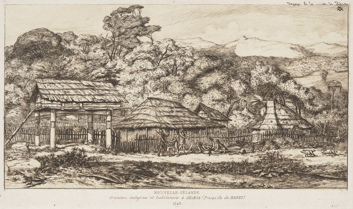 Charles Meryon Nouvelle-Zélande, Greniers Indigènes et Habitations à Akaroa (Presqu'île de Banks, 1845) 1860. Etching. Collection of Christchurch Art Gallery Te Puna o Waiwhetū, purchased 1972