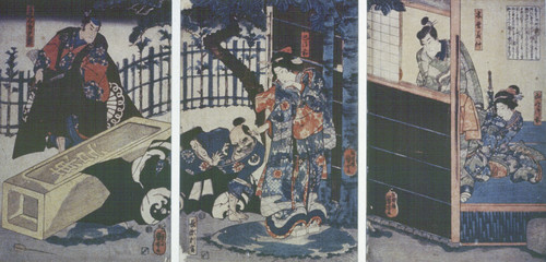 Utagawa Kuniyoshi Tomoe Gozen pulling the ear of Nagase Hangan in the presence of Tezuka Taro Mitsumori, Kiso Yoshinaka and Yamabuki Gozen circa 1843. Woodcut. Collection of Christchurch Art Gallery Te Puna o Waiwhetū, purchased 1953