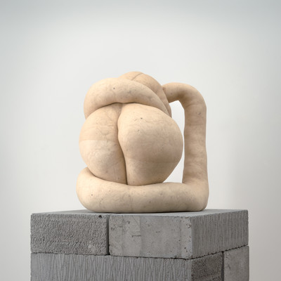 Sarah Lucas Nud Cycladic 1 2009. Tights, fluff, wire, concrete blocks, MDF. Collection of Christchurch Art Gallery Te Puna o Waiwhetū. Purchase enabled by a gift from Andrew and Jenny Smith, made in response to the generosity of Sarah Lucas, Sadie Coles, London and Two Rooms, Auckland to the people of Christchurch on the occasion of the Canterbury Earthquake, February 2011
