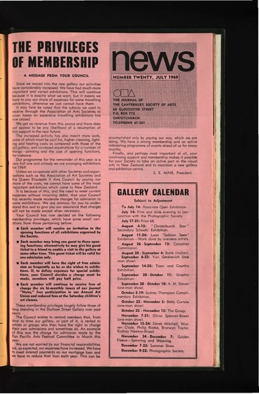 Canterbury Society of Arts News, number 20, July 1968