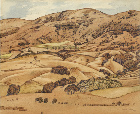 Rita Angus Akaroa Hills 1943. Watercolour. Collection of Christchurch Art Gallery Te Puna o Waiwhetū, N. Barrett Bequest Collection, purchased 2010
