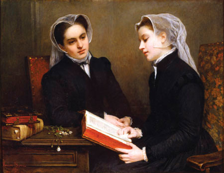 Henriette Browne Les Puritaines/La Lecture de la Bible 1857. Oil on canvas. Collection of Christchurch Art Gallery Te Puna o Waiwhetū, presented by R.E. McDougall 1930