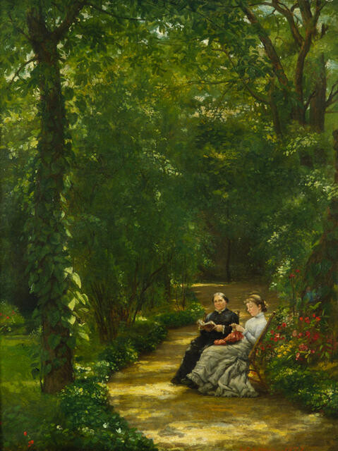 The Healy Garden, Paris (with portraits of his wife Louisa and daughter Edith)