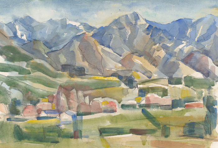Doris Lusk Hills from Springfield 1961. Watercolour. Collection of Christchurch Art Gallery Te Puna o Waiwhetū, donated from the Canterbury Public Library Collection, 2001
