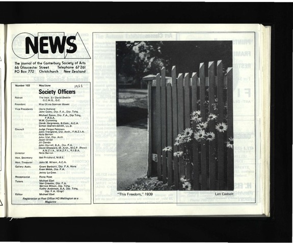 Canterbury Society of Arts News, number 103, May/June [1982]