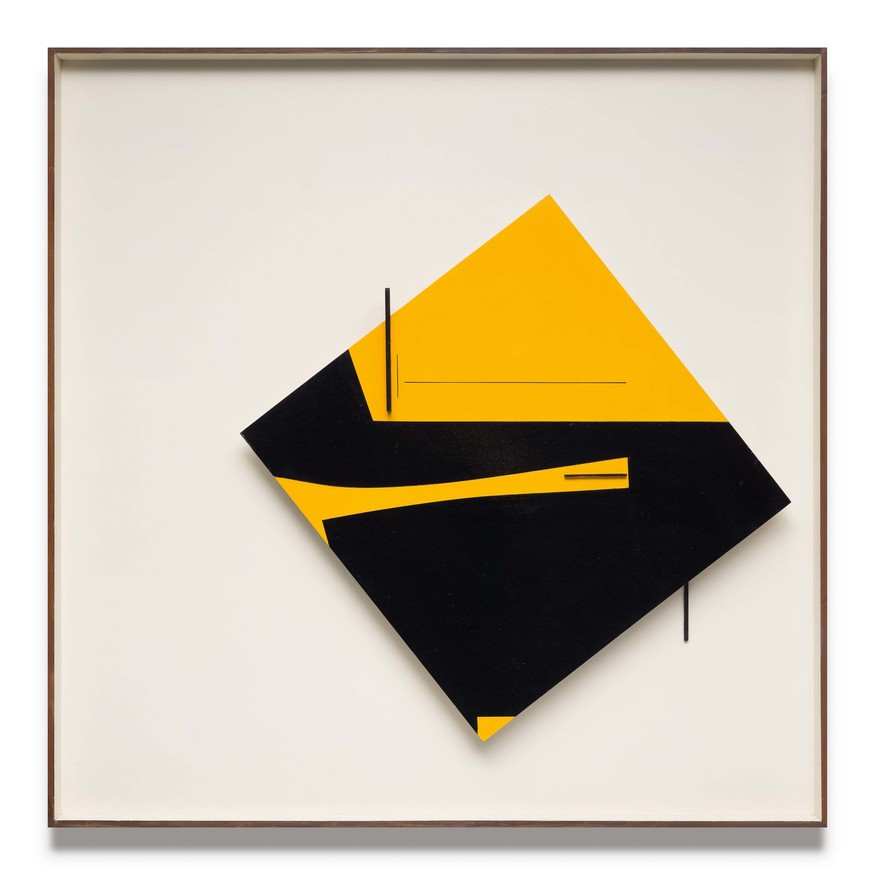 Don Peebles Relief Construction: yellow and black 1966. Painted wood on panel. Auckland Art Gallery Toi o Tāmaki, purchased 1966