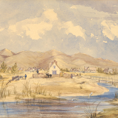 Emily Harper Christchurch from near the Gloucester Street Bridge 1857. Watercolour. Collection of Christchurch Art Gallery Te Puna o Waiwhetū, gift of the Acland family 2016