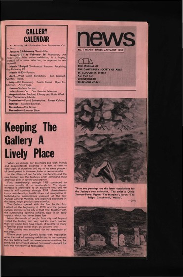 Canterbury Society of Arts News, number 23, January 1969