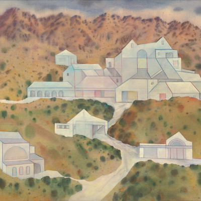 Doris Lusk Imagined Projects II, Limeworks 1983. Acrylic on canvas. Collection of Christchurch Art Gallery Te Puna o Waiwhetu, purchased 1984