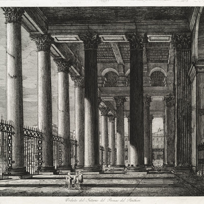 Luigi Rossini Veduta del Interno del Pronao del Pantheon 1820. Etching. Collection of Christchurch Art Gallery Te Puna o Waiwhetū, purchased 1998