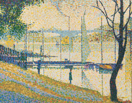 Bridget Riley Copy after The Bridge at Courbevoie by George Seurat 1959. Oil on canvas. Private collection. © Bridget Riley 2017. All rights reserved