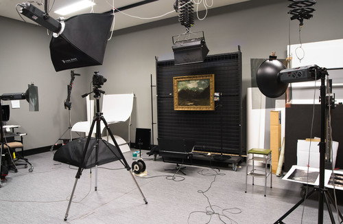 The studio setup, with Van der Velden's West Coast Ranges (1893) on the easel. Photo: John Collie