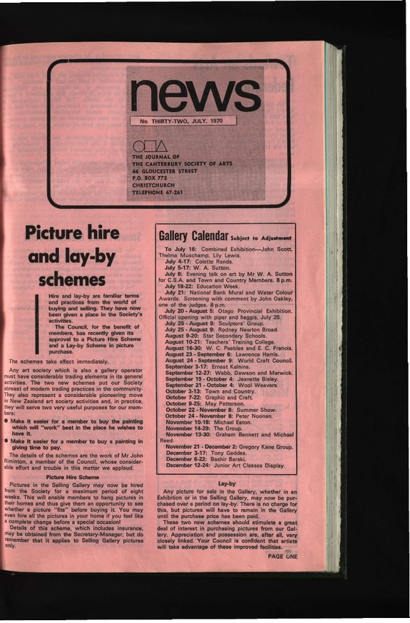 Canterbury Society of Arts News, number 32, July 1970