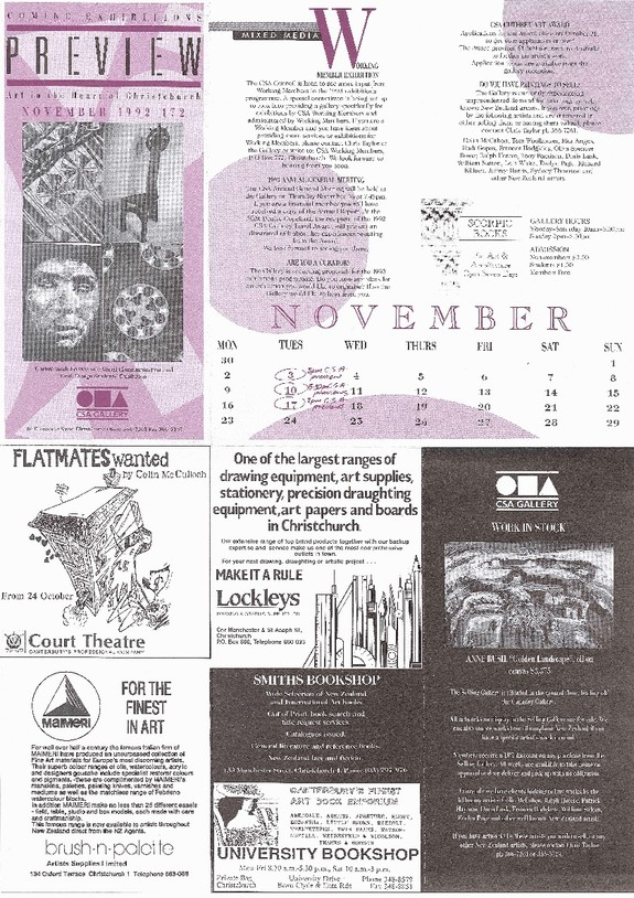 Canterbury Society of Arts Preview, number 172, November 1992