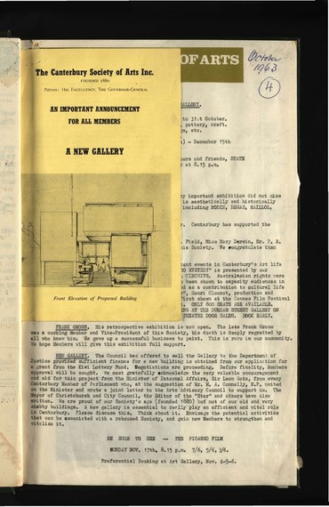 Canterbury Society of Arts newsletter, October 1963