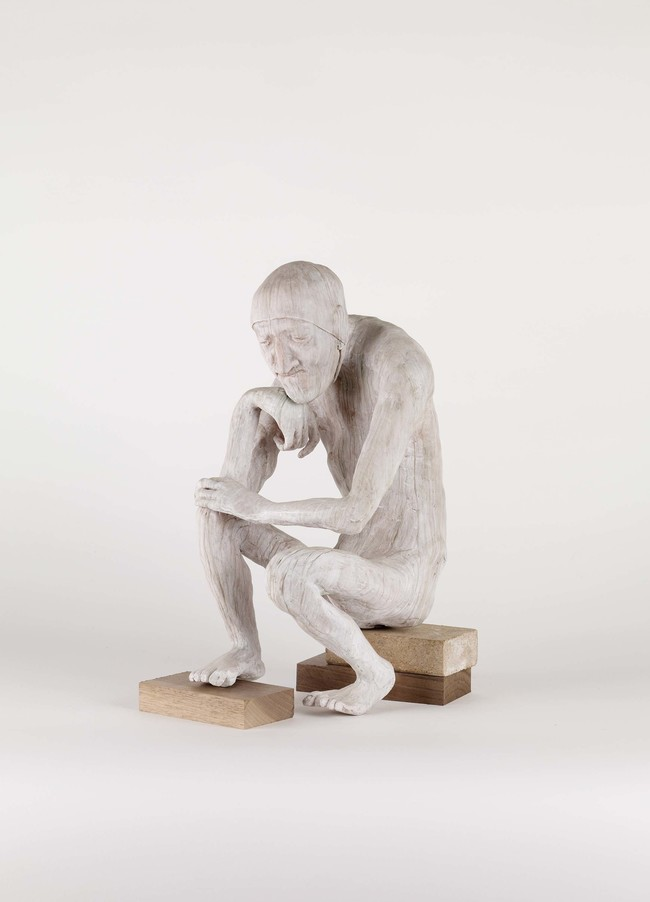 Francis Upritchard The Thinker (from Unmoving) 2007. Modelling material, foil, wire, paint. Courtesy Kate MacGarry, London