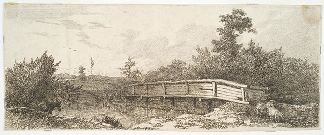 Landscape With Bridge Over Stream; Fences, Stock-donkey, Sheep - Also Figure Crossing Bridge