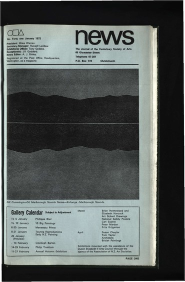 Canterbury Society of Arts News, number 41, January 1972